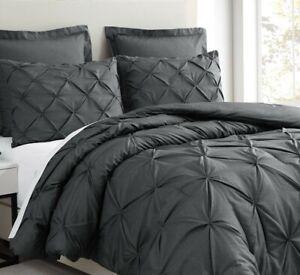 Estellar 3pc Charcoal Grey Comforter Set Pinch Pleat Bedding Cover HOME DECO