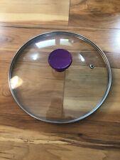 "T-Fal Glass Pot Pan Replacement Lid Purple Handle 9 1/4"" Inside Lip 9 7/8"" Outer"