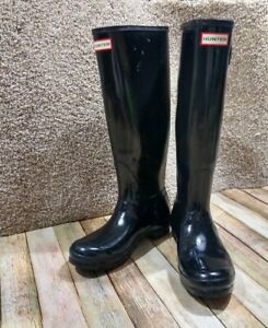 Hunter Original Tall Glossy Rubber Closed Toe Knee Rain Boots Size 8 Black