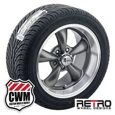 """17x8""""/17x9"""" Retro Staggered Gray Wheels Rims Tires for Ford Falcon 68-70"""