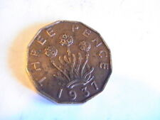 Uk Great Britain 1937 - 3 Pence Nickel-Brass Coin - King George Vi