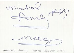 Autographed Index Card - Michael Ansley Orlando Magic Philadelphia 76ers Forward