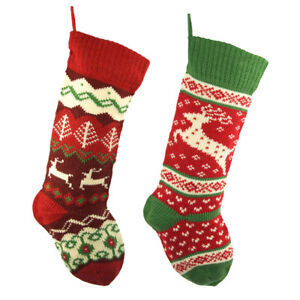Ugly Sweater Knitted Polyester Christmas Stockings, Red, 20-Inch, 2-Piece