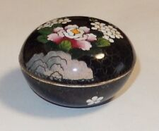 SMALL INABA FLORAL DESIGN CLOISONNE BLACK ENAMEL BOX SIGNED