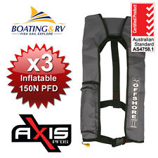 3x Axis Grey Inflatable Life Jackets | Set of 3 Offshore 150N Life Vests