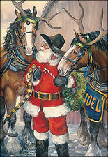Leanin' Tree Christmas Card  - Santa With Horses Theme - ID#444