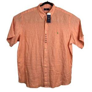 Polo Ralph Lauren Linen Mens 3XLT Shirt Button Down Short Sleeve Orange NWT