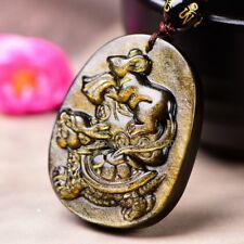 Natural Gold Obsidian Carved Turtle Rat Lucky Amulet Pendant + Beads Necklace