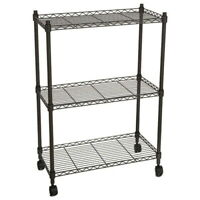 3 Tier Wire Shelving Rack Cart Kitchen Rolling Unit With Casters Shelf Wheels