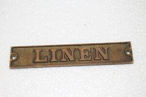 Vintage 1890's Linen Embossed Cast Brass Metal Ocean Passenger Ship Door Sign