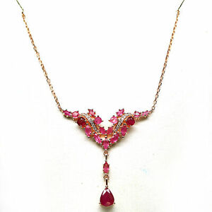 """NATURAL RED RUBY, SAPPHIRE & CZ NECKLACE 19"""" 925 STERLING SILVER"""