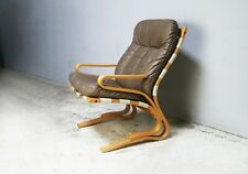 1970's mid century leather and bentwood armchair