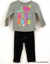 "Girls Winter Fall Outfit 18 months ""I Love Snow Days"" Sweatshirt Black Jeggings"