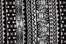 Black White Ethnic Jersey Knit Print #130 Cotton Spandex Lycra Fabric BTY