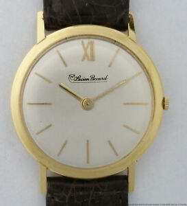 Very Scarce 18k Gold Lucien Piccard Vintage Mens Wrist Watch