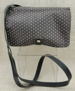 Thirty-One Gifts Double Up Crossbody ~ City Charcoal Swiss Dot