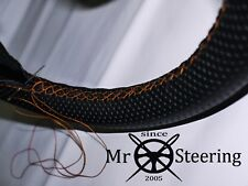 FOR PEUGEOT 505 79-92 PERFORATED LEATHER STEERING WHEEL COVER ORANGE DOUBLE STCH