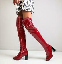 US14 Women Shiny Pleated Patent Leather Over The Knee Boots Zip Rhinestone Zha19