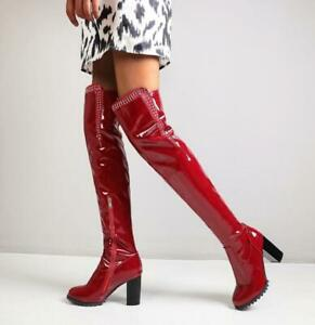 Women's Shiny Pleated Patent Leather Over The Knee Boots Zip Rivets Knight Shoes