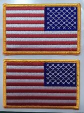 "AMERICAN FLAG PATCHES  REVERSE USA LEFT FACING 3.5"" wide 2 pcs"