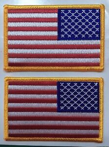 """AMERICAN FLAG PATCHES  REVERSE USA LEFT FACING 3.5"""" wide 2 pcs"""
