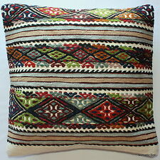 (50*50cm, 20inch) Boho Style handwoven kilim cushion cover textured green blue