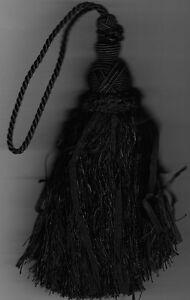"7&1/2"" BLACK KEY TASSEL HOME DECORATING FABRIC TRIM"