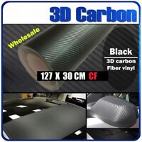 3D Matte Black Carbon Fibre Fiber Vinyl Car Wrap NO CREASE 30cm x 1.27M Fiber