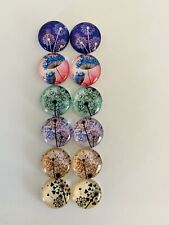 6 Pairs Of 12mm Glass Cabochons #601