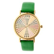 Crayo Fortune Women's Rainbow Dial Green Band Gold Watch CR4304