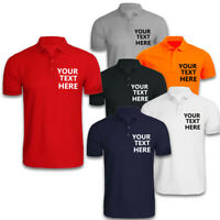 Personalised Men's Polo T shirts Top Short Sleeves Summer Custom Text Summer Tee