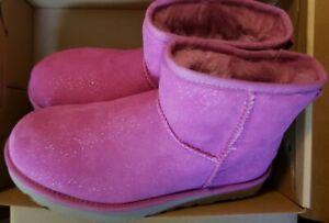 New UGG Mini Milky Way Classic Pink Glitter Short Boots Women's Size 7