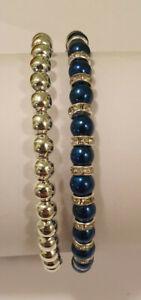 Set of 2 Dark Blue & Silver Glass Pearl & Diamante Rondelle Bead Bracelets - NEW
