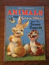 Vintage 1938 linen-like book Walt Disney's The Animals from Snow White rare oop!