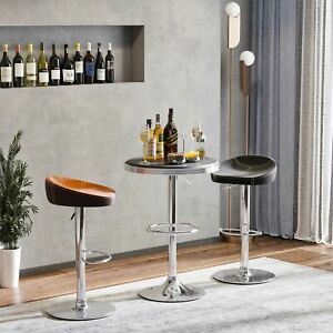 Round Height Adjustable Pub Table Counter Bar Tabletop Footrest Dining Room Home
