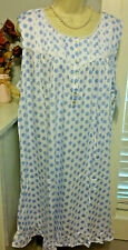 NWT XL Eileen West Nightgown Gown NEW 100% Cotton Knit Sleeveless Blue White