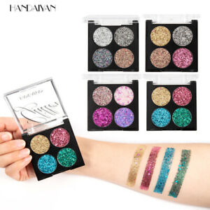 4 Color Eyeshadow Cosmetic Glitter Sequins Girl stage Makeup Eyeshadow Palette