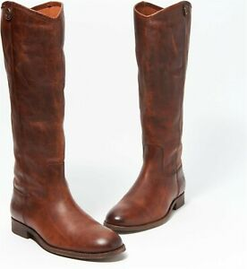 Frye Wide Calf Leather Tall Boots Melissa Button2 Cognac 7.5M NEW A367412