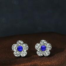 Women 925 Silver Blue Flower Crystal Rhinestone Ear Stud Earrings for Wedding