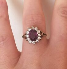 Beautiful Hallmarked Vintage Silver Ring With Faceted Stones. Size O.