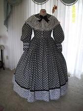 1800`s Victorian Civil War Gown 1 Piece Cotton day Dress Reenacting Costume