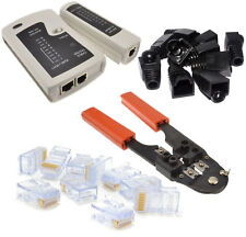 LAN KIT :: Network Tester/10 RJ45 Crimp Ends/Crimper Tool/ 10 Black Boots