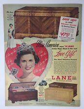 Original Print Ad 1950 LANE Chest Miss America Beauty Queen Jacque Mercer