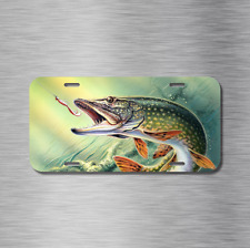 Pike Fishing Fish Vehicle License Plate Front Auto Tag boat Plate Lake pond New