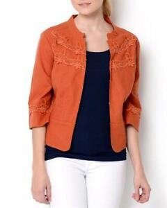 PAPILLON ORANGE LINEN & COTTON, 3/4 SLEEVES SUMMER JACKET, UK-10/12, USA-M