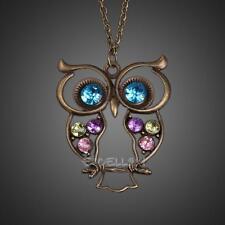 Vintage Crystal Rhinestone Blue Eyed Owl Long Pendant Sweater Necklace Jewelery