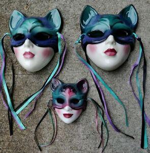 Porcelain Wall Masks , Lot of 3