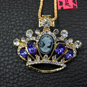 Betsey Johnson Crystal Purple Crown Rhinestone Pendant Sweater Chain Necklace