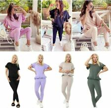 NEW LADIES PUFF  SLEEVE  SHORT FRILL RUCHED LOUNGE WEAR TOP BOTTOM TRACKSUIT SET