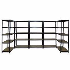 5x 0.9M Black Steel Warehouse Racking Rack Storage Garage Shelving Shelf Shelves
